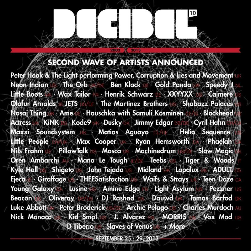 Decibel Festival 2013: 2nd Lineup Announcement