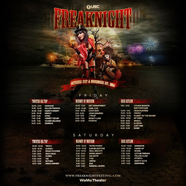 Freaknight 2014 - Schedule