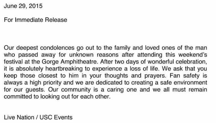Paradiso death 2015 - official USC events statement